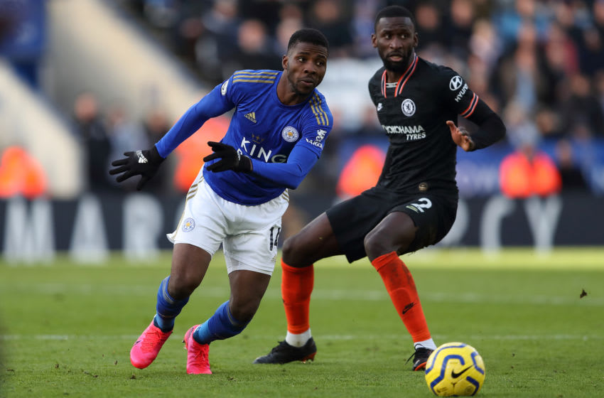 LEICESTER, ENGLAND - FEBRUARY 01: Kelechi Iheanacho of Leicester City during the Premier League match between Leicester City and Chelsea FC at The King Power Stadium on February 1, 2020 in Leicester, United Kingdom. (Photo by James Williamson - AMA/Getty Images)