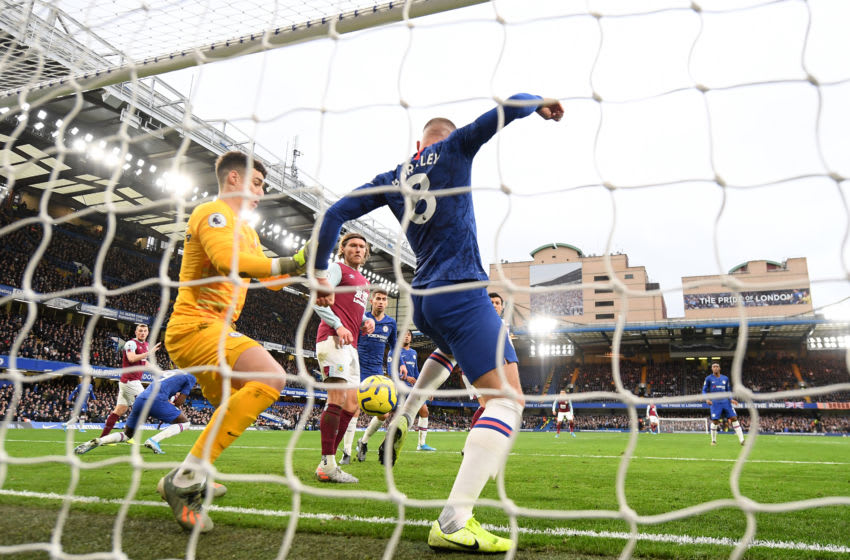 LONDON, ENGLAND - JANUARY 11: Ross Barkley of Chelsea clears the ball off the line during the Premier League match between Chelsea FC and Burnley FC at Stamford Bridge on January 11, 2020 in London, United Kingdom. (Photo by Mike Hewitt/Getty Images)