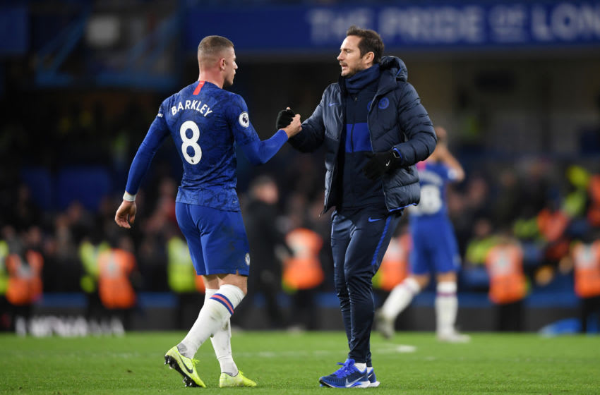 LONDON, ENGLAND - JANUARY 11: Frank Lampard, Manager of Chelsea embraces Ross Barkley of Chelsea after their sides victory in the Premier League match between Chelsea FC and Burnley FC at Stamford Bridge on January 11, 2020 in London, United Kingdom. (Photo by Mike Hewitt/Getty Images)