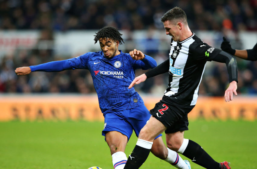 NEWCASTLE UPON TYNE, ENGLAND - JANUARY 18: Reece James of Chelsea is challenged by Ciaran Clark of Newcastle United during the Premier League match between Newcastle United and Chelsea FC at St. James Park on January 18, 2020 in Newcastle upon Tyne, United Kingdom. (Photo by Alex Livesey/Getty Images)