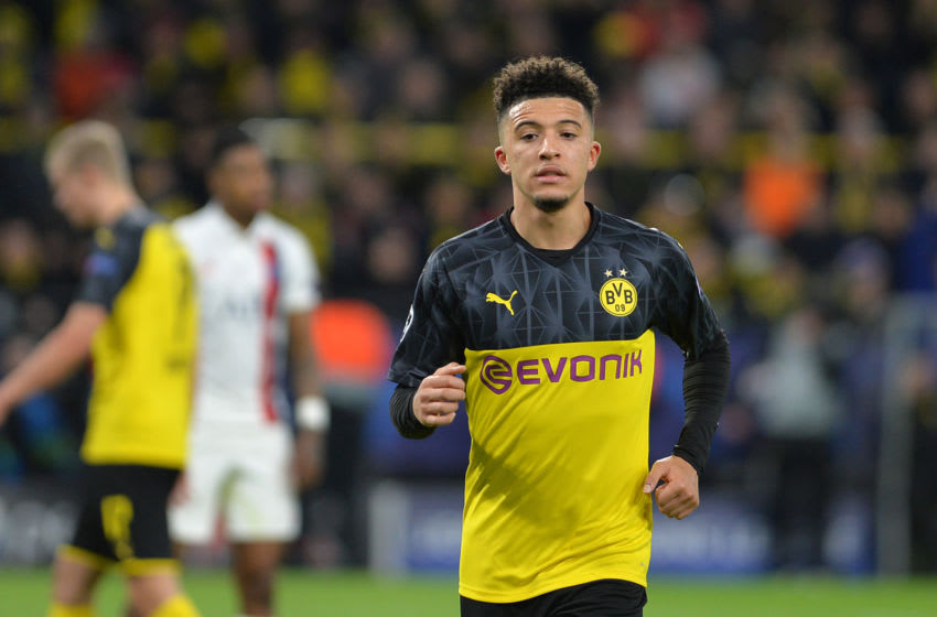 DORTMUND, GERMANY - FEBRUARY 18: (BILD ZEITUNG OUT) Jadon Sancho of Borussia Dortmund looks on during the UEFA Champions League round of 16 first leg match between Borussia Dortmund and Paris Saint-Germain at Signal Iduna Park on February 18, 2020 in Dortmund, Germany. (Photo by Ralf Treese/DeFodi Images via Getty Images)