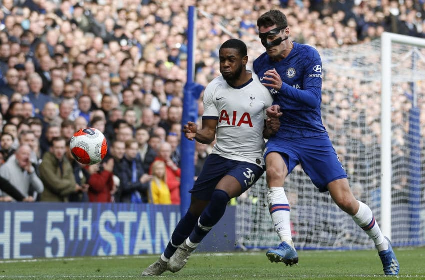 Tottenham Hotspur's English midfielder Japhet Tanganga (L) vies with Chelsea's Danish defender Andreas Christensen during the English Premier League football match between Chelsea and Tottenham Hotspur at Stamford Bridge in London on February 22 2020. (Photo by Ian KINGTON / AFP) / RESTRICTED TO EDITORIAL USE. No use with unauthorized audio, video, data, fixture lists, club/league logos or 'live' services. Online in-match use limited to 120 images. An additional 40 images may be used in extra time. No video emulation. Social media in-match use limited to 120 images. An additional 40 images may be used in extra time. No use in betting publications, games or single club/league/player publications. / (Photo by IAN KINGTON/AFP via Getty Images)