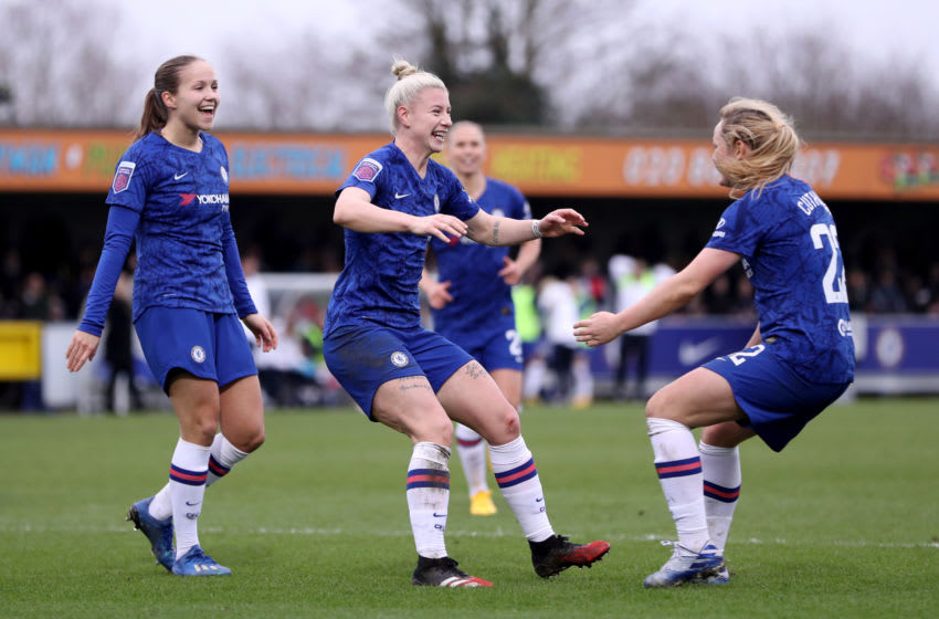 KINGSTON UPON THAMES, ENGLAND - FEBRUARY 02: Bethany England of Chelsea celebrates with teammates Erin Curthbert and Guro Reiten after scoring her sides fifth goal during the Barclays FA Women's Super League match between Chelsea and West Ham United at Kingsmeadow on February 02, 2020 in Kingston upon Thames, United Kingdom. (Photo by Linnea Rheborg/Getty Images)