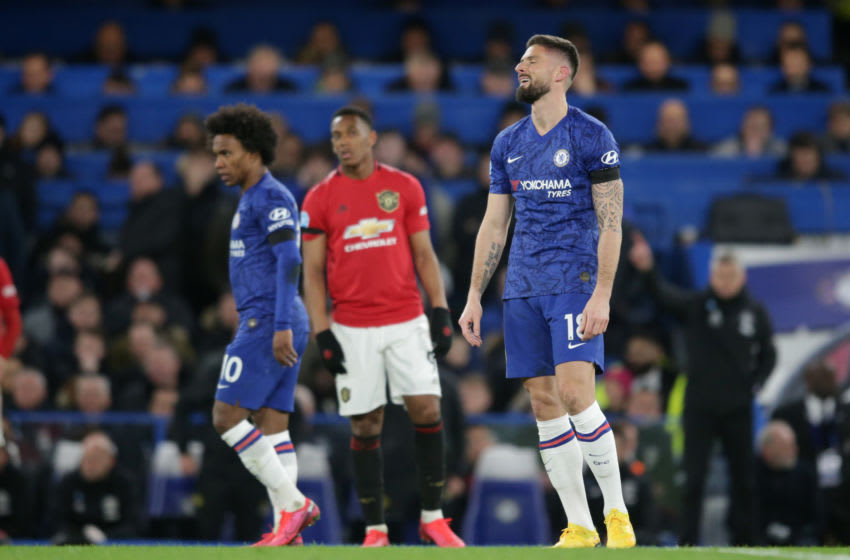 LONDON, ENGLAND - FEBRUARY 17: Olivier Giroud of Chelsea after he sees his goal ruled out by VAR during the Premier League match between Chelsea FC and Manchester United at Stamford Bridge on February 17, 2020 in London, United Kingdom. (Photo by Robin Jones/Getty Images)