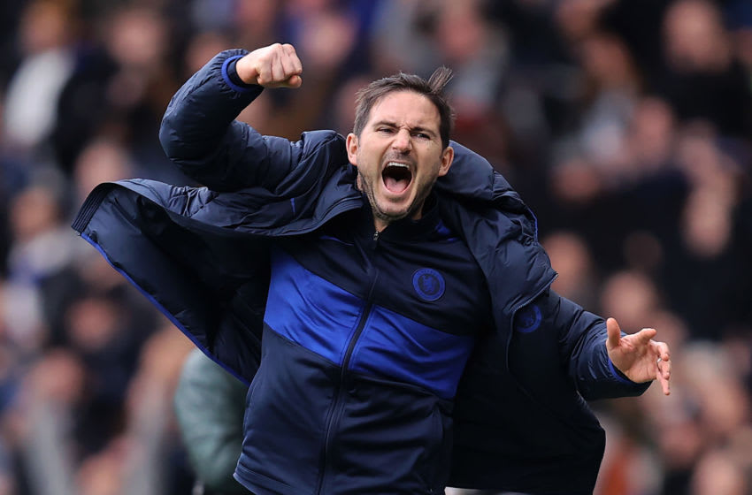 LONDON, ENGLAND - FEBRUARY 22: Frank Lampard manager of Chelsea celebrates his teams victory over Spurs during the Premier League match between Chelsea FC and Tottenham Hotspur at Stamford Bridge on February 22, 2020 in London, United Kingdom. (Photo by Julian Finney/Getty Images)