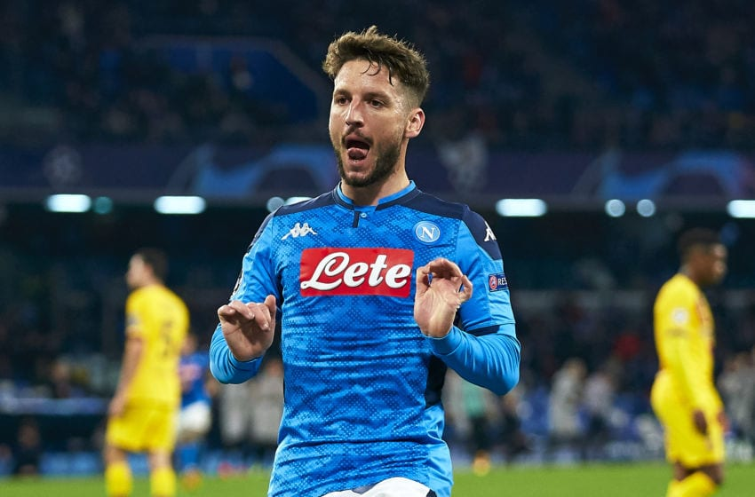 NAPLES, ITALY - FEBRUARY 25: Dries Mertens of SSC Napoli celebrating their team's first goal during the UEFA Champions League round of 16 first leg match between SSC Napoli and FC Barcelona at Stadio San Paolo on February 25, 2020 in Naples, Italy. (Photo by Pedro Salado/Quality Sport Images/Getty Images)