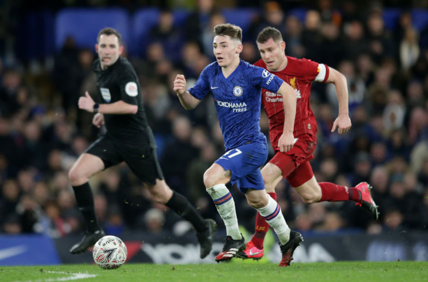 LONDON, ENGLAND - MARCH 03: Billy Gilmour of Chelsea and James Milner of Liverpool during the FA Cup Fifth Round match between Chelsea FC and Liverpool FC at Stamford Bridge on March 03, 2020 in London, England. (Photo by Robin Jones/Getty Images)