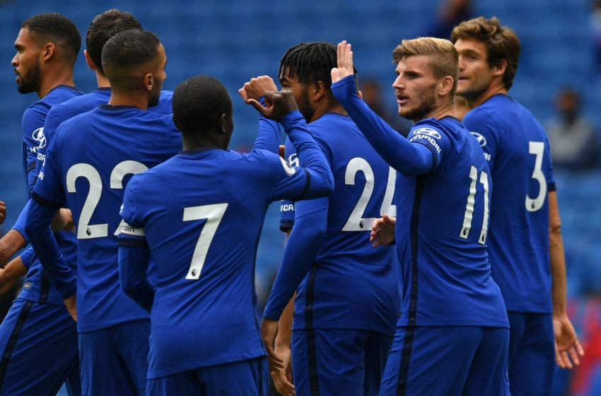Chelsea's German striker Timo Werner (2nd R) celebrates with teammates after scoring the opening goal of the pre-season friendly football match between Brighton and Hove Albion and Chelsea at the American Express Community Stadium in Brighton, southern England on August 29, 2020. - The game is a 'pilot' event where a small number of fans will be present on a socially-distanced basis. The aim is to get fans back into stadiums in the Premier League by October. (Photo by Glyn KIRK / AFP) (Photo by GLYN KIRK/AFP via Getty Images)