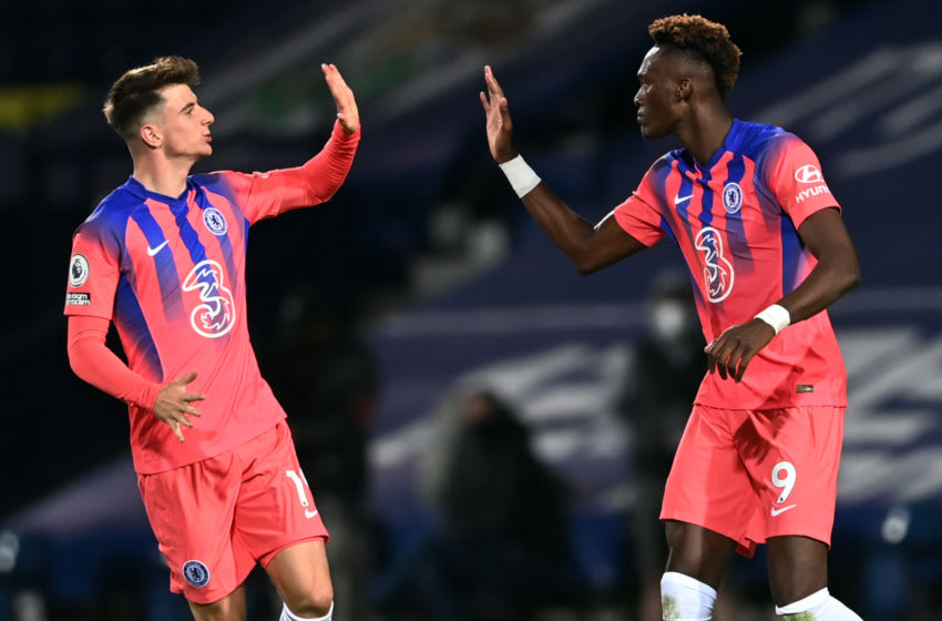 Chelsea's English striker Tammy Abraham (R) celebrates with Chelsea's English midfielder Mason Mount (L) after scoring their third goal during the English Premier League football match between West Bromwich Albion and Chelsea at The Hawthorns stadium in West Bromwich, central England, on September 26, 2020. (Photo by Laurence Griffiths / POOL / AFP) / RESTRICTED TO EDITORIAL USE. No use with unauthorized audio, video, data, fixture lists, club/league logos or 'live' services. Online in-match use limited to 120 images. An additional 40 images may be used in extra time. No video emulation. Social media in-match use limited to 120 images. An additional 40 images may be used in extra time. No use in betting publications, games or single club/league/player publications. / (Photo by LAURENCE GRIFFITHS/POOL/AFP via Getty Images)