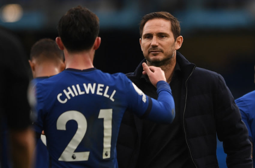 Chelsea's English head coach Frank Lampard (R) reacts at the final whistle during the English Premier League football match between Chelsea and Crystal Palace at Stamford Bridge in London on October 3, 2020. (Photo by NEIL HALL / POOL / AFP) / RESTRICTED TO EDITORIAL USE. No use with unauthorized audio, video, data, fixture lists, club/league logos or 'live' services. Online in-match use limited to 120 images. An additional 40 images may be used in extra time. No video emulation. Social media in-match use limited to 120 images. An additional 40 images may be used in extra time. No use in betting publications, games or single club/league/player publications. / (Photo by NEIL HALL/POOL/AFP via Getty Images)