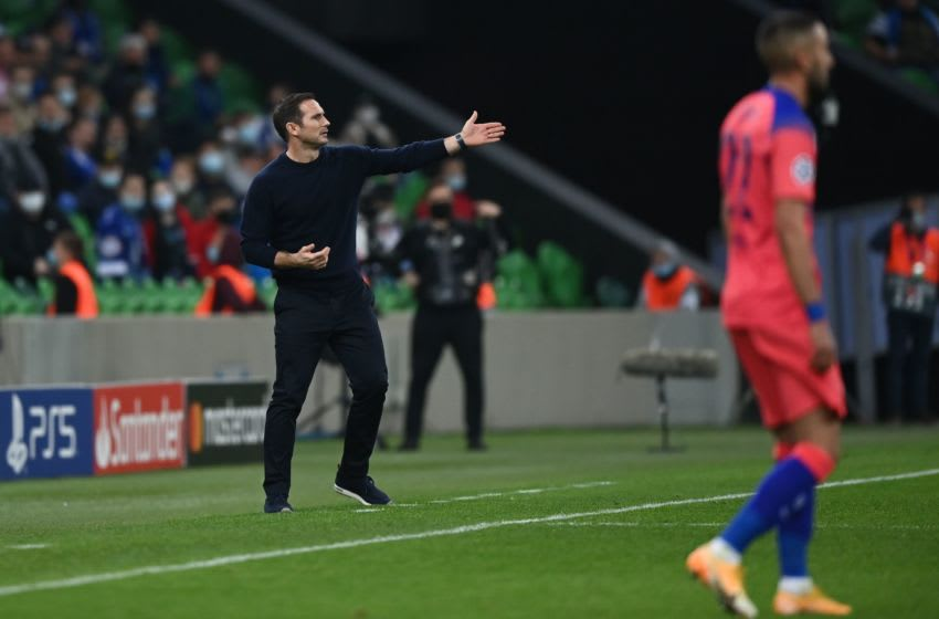 Chelsea's English coach Frank Lampard gestures from the sideline during the UEFA Champions League football match between Krasnodar and Chelsea at the Krasnodar stadium in Krasnodar on October 28, 2020. (Photo by Kirill KUDRYAVTSEV / AFP) (Photo by KIRILL KUDRYAVTSEV/AFP via Getty Images)