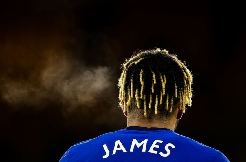 WOLVERHAMPTON, ENGLAND - DECEMBER 15: Reece James of Chelsea during the Premier League match between Wolverhampton Wanderers and Chelsea at Molineux on December 15, 2020 in Wolverhampton, United Kingdom. The match will be played without fans, behind closed doors as a Covid-19 precaution. (Photo by Matthew Ashton - AMA/Getty Images)