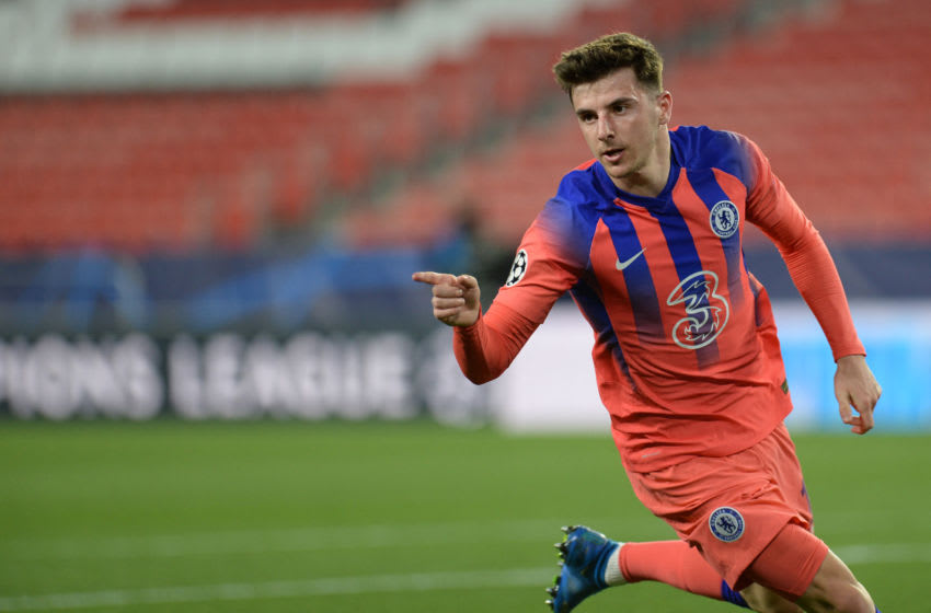 Chelsea's English midfielder Mason Mount celebrates scoring a goal during the UEFA Champions League first leg quarter final football match between FC Porto and Chelsea FC at the Ramon Sanchez Pizjuan stadium in Seville on April 07, 2021. (Photo by CRISTINA QUICLER / AFP) (Photo by CRISTINA QUICLER/AFP via Getty Images)