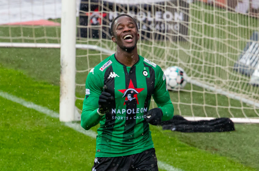Cercle's Ike Ugbo celebrates after scoring during a soccer match between Cercle Brugge and Oud-Heverlee Leuven, Saturday 10 April 2021 in Brugge, on day 33 of the 'Jupiler Pro League' first division of the Belgian championship. BELGA PHOTO KURT DESPLENTER (Photo by KURT DESPLENTER/BELGA MAG/AFP via Getty Images)