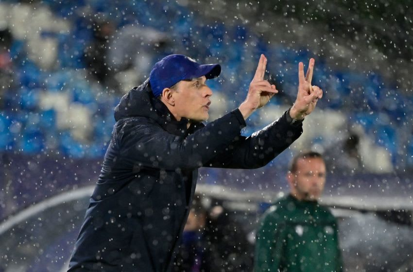 Chelsea's German coach Thomas Tuchel gestures during the UEFA Champions League semi-final first leg football match between Real Madrid and Chelsea at the Alfredo di Stefano stadium in Valdebebas, on the outskirts of Madrid, on April 27, 2021. (Photo by JAVIER SORIANO / AFP) (Photo by JAVIER SORIANO/AFP via Getty Images)