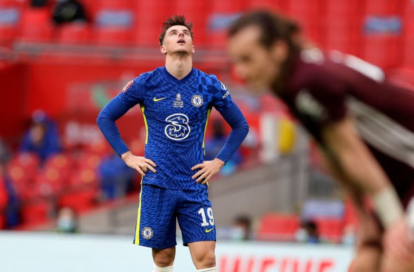 Chelsea's English midfielder Mason Mount reacts after missing a chance during the English FA Cup final football match between Chelsea and Leicester City at Wembley Stadium in north west London on May 15, 2021. - - NOT FOR MARKETING OR ADVERTISING USE / RESTRICTED TO EDITORIAL USE (Photo by Kirsty Wigglesworth / POOL / AFP) / NOT FOR MARKETING OR ADVERTISING USE / RESTRICTED TO EDITORIAL USE (Photo by KIRSTY WIGGLESWORTH/POOL/AFP via Getty Images)