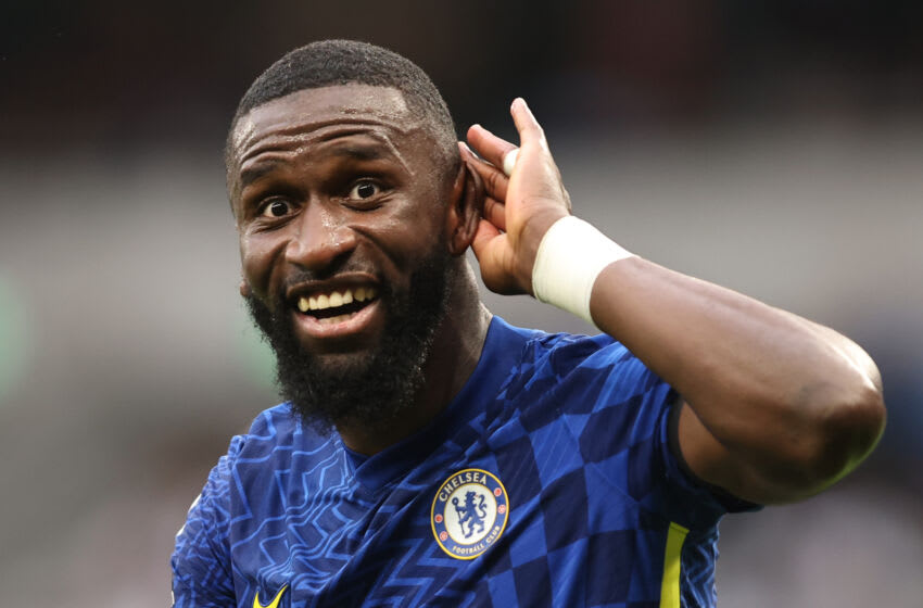 LONDON, ENGLAND - SEPTEMBER 19: Antonio Rudiger of Chelsea celebrates during the Premier League match between Tottenham Hotspur and Chelsea at Tottenham Hotspur Stadium on September 19, 2021 in London, England. (Photo by Marc Atkins/Getty Images)