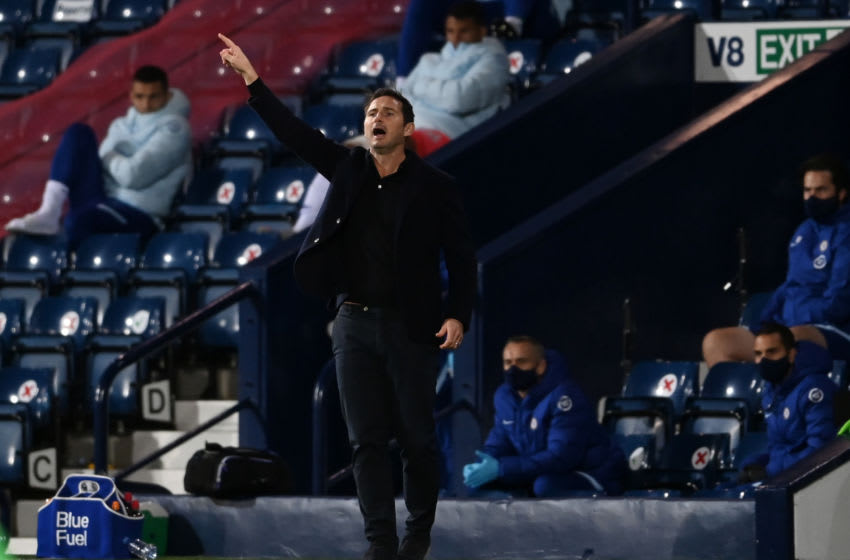 WEST BROMWICH, ENGLAND - SEPTEMBER 26: Frank Lampard, Manager of Chelsea reacts during the Premier League match between West Bromwich Albion and Chelsea at The Hawthorns on September 26, 2020 in West Bromwich, England. Sporting stadiums around the UK remain under strict restrictions due to the Coronavirus Pandemic as Government social distancing laws prohibit fans inside venues resulting in games being played behind closed doors. (Photo by Laurence Griffiths/Getty Images)
