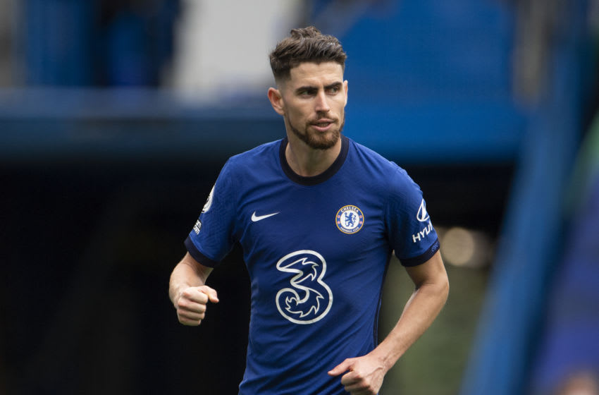 LONDON, ENGLAND - OCTOBER 03: Jorginho scores Chelsea's second goal from the penalty spot during the Premier League match between Chelsea and Crystal Palace at Stamford Bridge on October 03, 2020 in London, England. Sporting stadiums around the UK remain under strict restrictions due to the Coronavirus Pandemic as Government social distancing laws prohibit fans inside venues resulting in games being played behind closed doors. (Photo by Visionhaus)