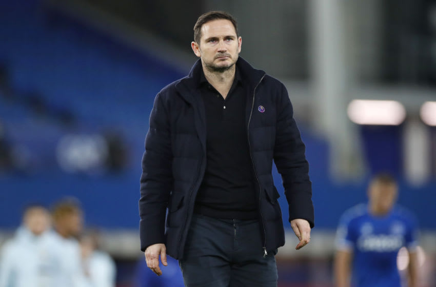 LIVERPOOL, ENGLAND - DECEMBER 12: Frank Lampard, Manager of Chelsea looks dejected following their sides defeat in the Premier League match between Everton and Chelsea at Goodison Park on December 12, 2020 in Liverpool, England. A limited number of spectators (2000) are welcomed back to stadiums to watch elite football across England. This was following easing of restrictions on spectators in tiers one and two areas only. (Photo by Clive Brunskill/Getty Images)