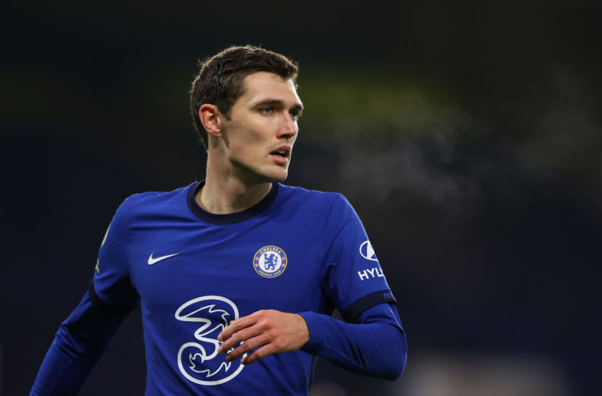 LONDON, ENGLAND - DECEMBER 28: Andreas Christensen of Chelsea in action during the Premier League match between Chelsea and Aston Villa at Stamford Bridge on December 28, 2020 in London, England. (Photo by Richard Heathcote/Getty Images)