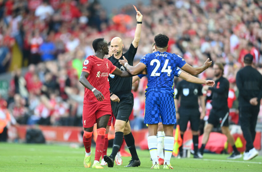 LIVERPOOL, ENGLAND - AUGUST 28: Reece James of Chelsea is shown a Red Card by Match Referee Anthony Taylor during the Premier League match between Liverpool and Chelsea at Anfield on August 28, 2021 in Liverpool, England. (Photo by Michael Regan/Getty Images)