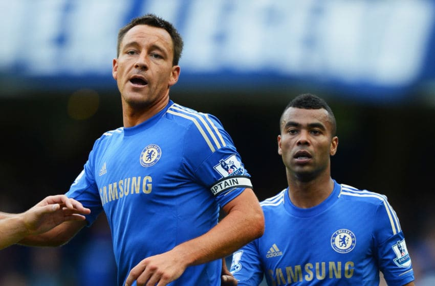 LONDON, ENGLAND - OCTOBER 06: John Terry (L) and Ashley Cole (R) of Chelsea look on during the Barclays Premier League match between Chelsea and Norwich City at Stamford Bridge on October 6, 2012 in London, England. (Photo by Mike Hewitt/Getty Images)