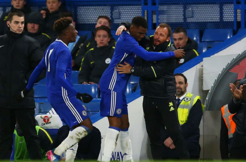 LONDON, ENGLAND - APRIL 26: Dujon Sterling of Chelsea celebrates with Jody Morris, Youth Team Coach of Chelsea after scoring during the FA Youth Cup Final, second leg between Chelsea and Mancherster City at Stamford Bridge on April 26, 2017 in London, England. (Photo by Steve Bardens/Getty Images)