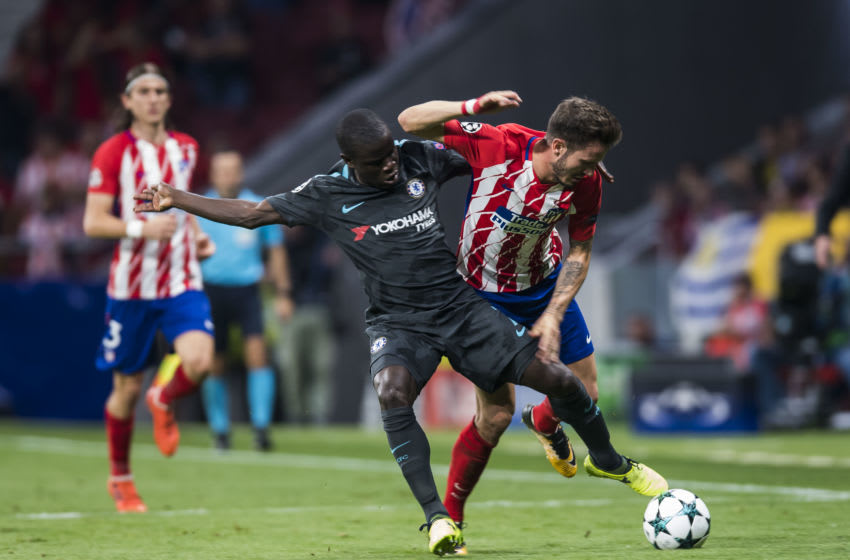 MADRID, SPAIN - SEPTEMBER 27: Saul Niguez Esclapez (r) of Atletico de Madrid competes for the ball with N'Golo Kante of Chelsea FC during the UEFA Champions League 2017-18 match between Atletico de Madrid and Chelsea FC at the Wanda Metropolitano on 27 September 2017, in Madrid, Spain. (Photo by Power Sport Images/Getty Images)