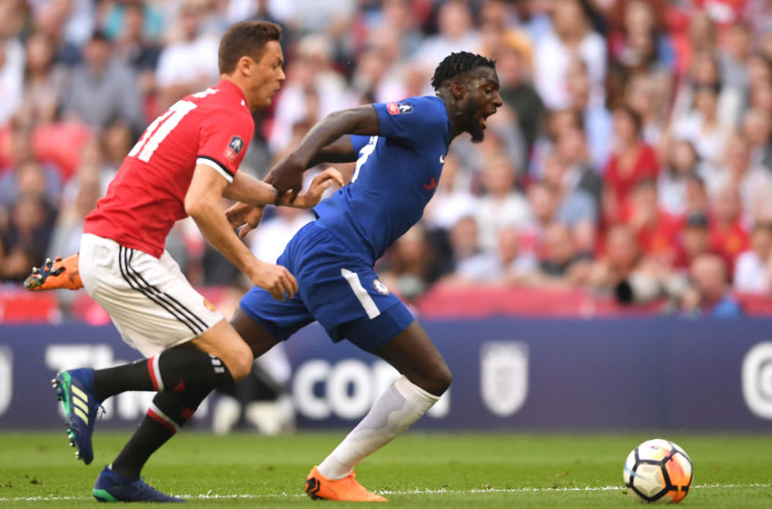 LONDON, ENGLAND - MAY 19: Tiemoue Bakayoko of Chelsea is challenged by Nemanja Matic of Manchester United during The Emirates FA Cup Final between Chelsea and Manchester United at Wembley Stadium on May 19, 2018 in London, England. (Photo by Laurence Griffiths/Getty Images)