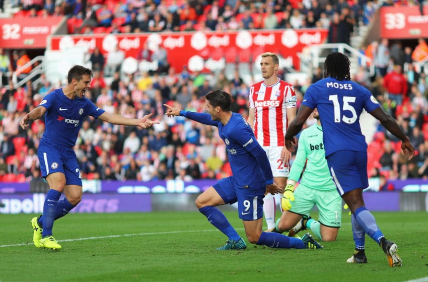 STOKE ON TRENT, ENGLAND - SEPTEMBER 23: Alvaro Morata of Chelsea celebrates scoring his sides fourth goal with his Chelsea team mates during the Premier League match between Stoke City and Chelsea at Bet365 Stadium on September 23, 2017 in Stoke on Trent, England. (Photo by Richard Heathcote/Getty Images)
