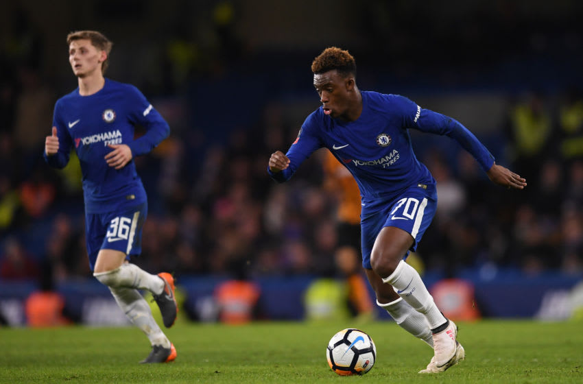 LONDON, ENGLAND - FEBRUARY 16: Youngsters Callum Hudson-Odoi (R) and Kyle Scott of Chelsea in action during The Emirates FA Cup Fifth Round match between Chelsea and Hull City at Stamford Bridge on February 16, 2018 in London, England. (Photo by Mike Hewitt/Getty Images)