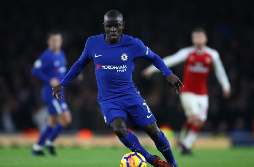 LONDON, ENGLAND - JANUARY 03: N'Golo Kante of Chelsea in action during the Premier League match between Arsenal and Chelsea at Emirates Stadium on January 3, 2018 in London, England. (Photo by Julian Finney/Getty Images)