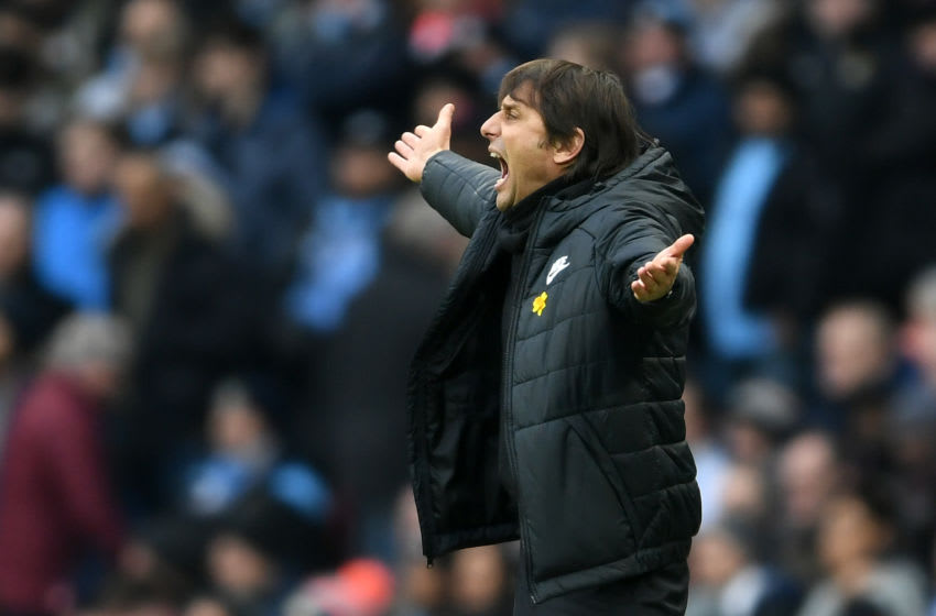 MANCHESTER, ENGLAND - MARCH 04: Antonio Conte of Chelsea shows his frustration during the Premier League match between Manchester City and Chelsea at Etihad Stadium on March 4, 2018 in Manchester, England. (Photo by Laurence Griffiths/Getty Images)