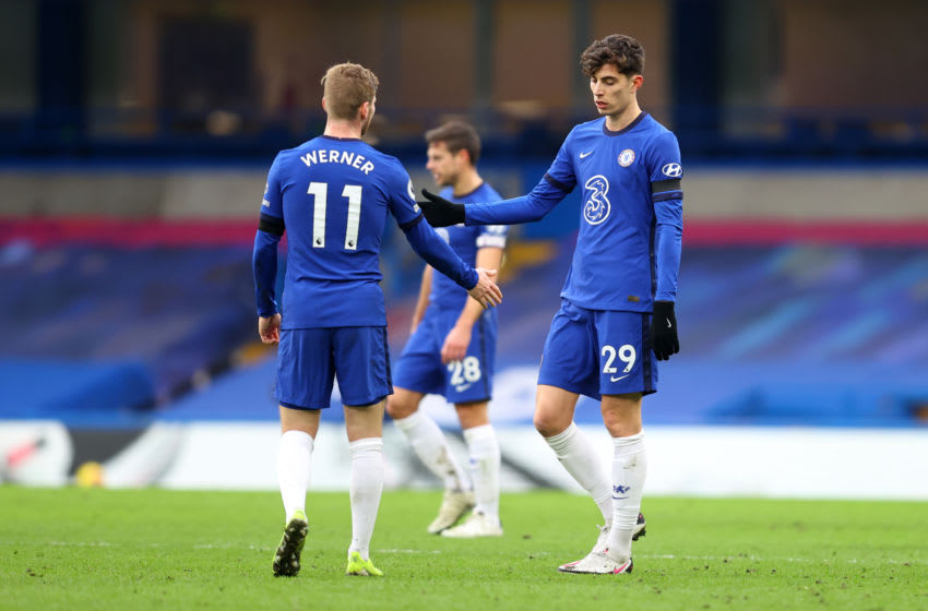 LONDON, ENGLAND - JANUARY 31: Kai Havertz of Chelsea interacts with team mate Timo Werner following the Premier League match between Chelsea and Burnley at Stamford Bridge on January 31, 2021 in London, England. Sporting stadiums around the UK remain under strict restrictions due to the Coronavirus Pandemic as Government social distancing laws prohibit fans inside venues resulting in games being played behind closed doors. (Photo by Julian Finney/Getty Images)