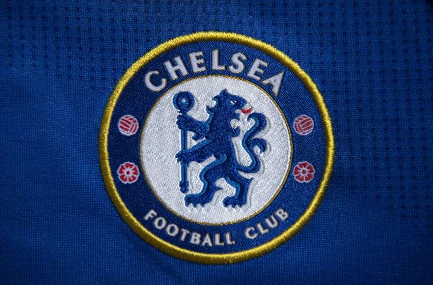 MANCHESTER, ENGLAND - APRIL 27: The Chelsea club crest on a first team home shirt on April 27, 2020 in Manchester, England (Photo by Visionhaus)