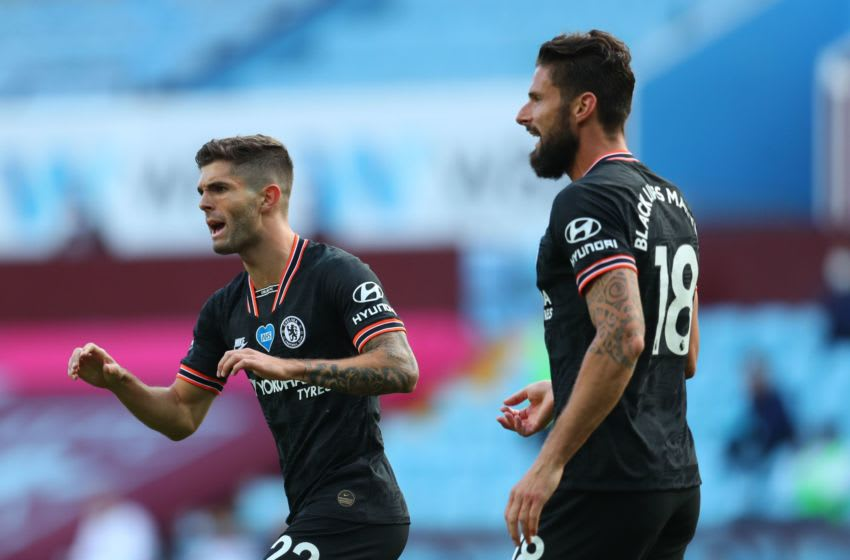 Chelsea's US midfielder Christian Pulisic (L) celebrates scoring his team's first goal next to his teammate Chelsea's French striker Olivier Giroud during the English Premier League football match between Aston Villa and Chelsea at Villa Park in Birmingham, central England on June 21, 2020. (Photo by Catherine Ivill / POOL / AFP) / RESTRICTED TO EDITORIAL USE. No use with unauthorized audio, video, data, fixture lists, club/league logos or 'live' services. Online in-match use limited to 120 images. An additional 40 images may be used in extra time. No video emulation. Social media in-match use limited to 120 images. An additional 40 images may be used in extra time. No use in betting publications, games or single club/league/player publications. / (Photo by CATHERINE IVILL/POOL/AFP via Getty Images)