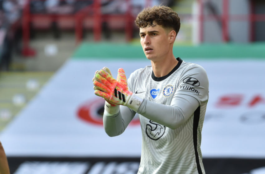 Chelsea's Spanish goalkeeper Kepa Arrizabalaga looks on during the English Premier League football match between Sheffield United and Chelsea at Bramall Lane in Sheffield, northern England on July 11, 2020. (Photo by Rui Vieira / POOL / AFP) / RESTRICTED TO EDITORIAL USE. No use with unauthorized audio, video, data, fixture lists, club/league logos or 'live' services. Online in-match use limited to 120 images. An additional 40 images may be used in extra time. No video emulation. Social media in-match use limited to 120 images. An additional 40 images may be used in extra time. No use in betting publications, games or single club/league/player publications. / (Photo by RUI VIEIRA/POOL/AFP via Getty Images)
