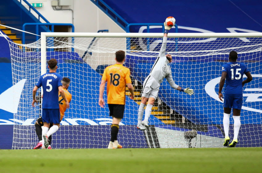 LONDON, ENGLAND - JULY 26: Willy Caballero of Chelsea makes a save during the Premier League match between Chelsea FC and Wolverhampton Wanderers at Stamford Bridge on July 26, 2020 in London, United Kingdom. (Photo by Craig Mercer/MB Media/Getty Images)
