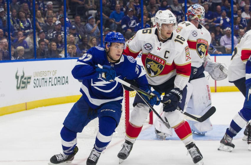 TAMPA, FL - OCTOBER 6: Yanni Gourde #37 of the Tampa Bay Lightning skates against Aleksander Barkov #16 of the Florida Panthers during the third period at Amalie Arena on October 6, 2018 in Tampa, Florida. (Photo by Scott Audette/NHLI via Getty Images)