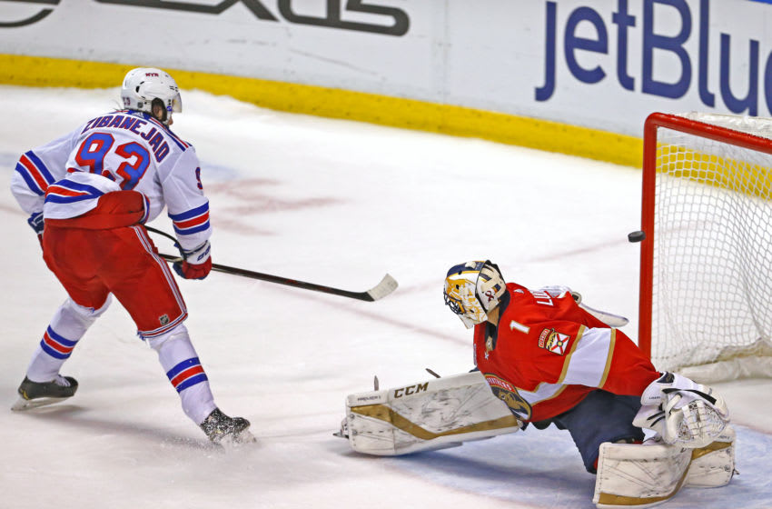 New York Rangers center Kevin Hayes #13 puts a shot on net against Florida Panthers goalie Roberto Luongo #1 during the shootout of an NHL regular season hockey game at the BB&T Center on Saturday, Dec. 8, 2018 in Sunrise, Fla. The Rangers won, 5-4. (David Santiago/Miami Herald/TNS via Getty Images)