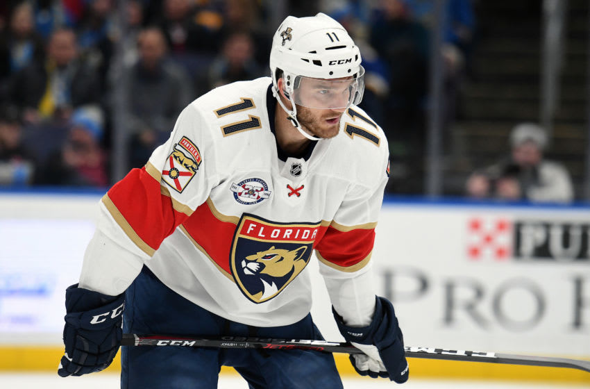 ST. LOUIS, MO. - DECEMBER 11: Florida Panthers leftwing Jonathan Huberdeau (11) during a NHL game between the Florida Panthers and the St. Louis Blues on December 11, 2018, at Enterprise Center, St. Louis, MO. (Photo by Keith Gillett/Icon Sportswire via Getty Images)