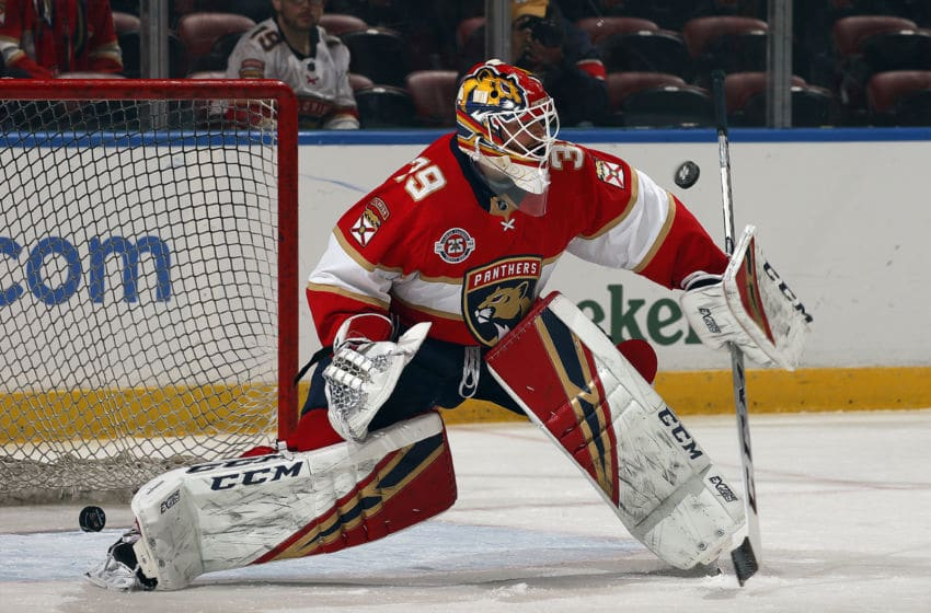 SUNRISE, FL - NOVEMBER 28: Goaltender Michael Hutchinson #39 of the Florida Panthers on the ice during warm ups prior to the start of their game against the Anaheim Ducks at the BB&T Center on November 28, 2018 in Sunrise, Florida. (Photo by Eliot J. Schechter/NHLI via Getty Images)
