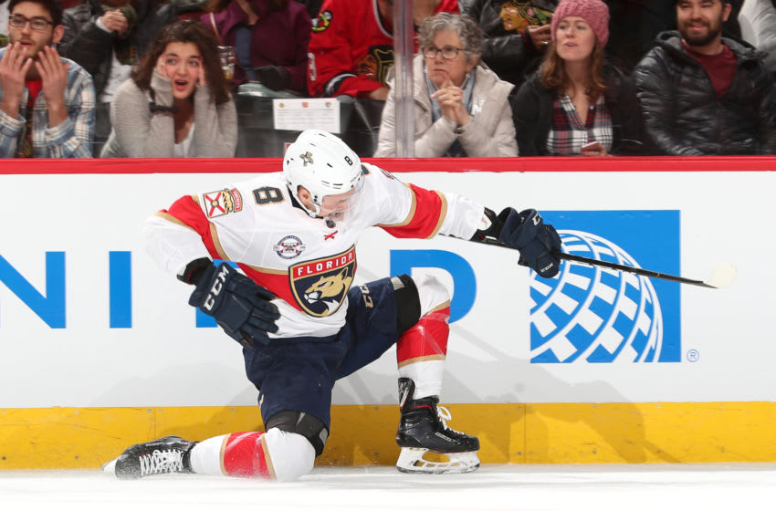 CHICAGO, IL - DECEMBER 23: Jayce Hawryluk #8 of the Florida Panthers celebrates after scoring against the Chicago Blackhawks in the first period at the United Center on December 23, 2018 in Chicago, Illinois. (Photo by Chase Agnello-Dean/NHLI via Getty Images)