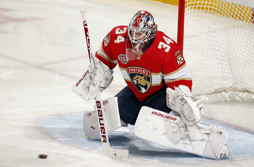 SUNRISE, FL - FEBRUARY 5: Goaltender James Reimer #34 of the Florida Panthers defends the net against the St. Louis Blues at the BB&T Center on February 5, 2019 in Sunrise, Florida. (Photo by Eliot J. Schechter/NHLI via Getty Images)