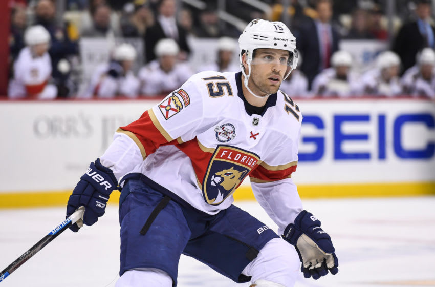PITTSBURGH, PA - MARCH 05: Florida Panthers Center Riley Sheahan (15) looks on during the third period in the NHL game between the Pittsburgh Penguins and the Florida Panthers on March 5, 2019, at PPG Paints Arena in Pittsburgh, PA. (Photo by Jeanine Leech/Icon Sportswire via Getty Images)