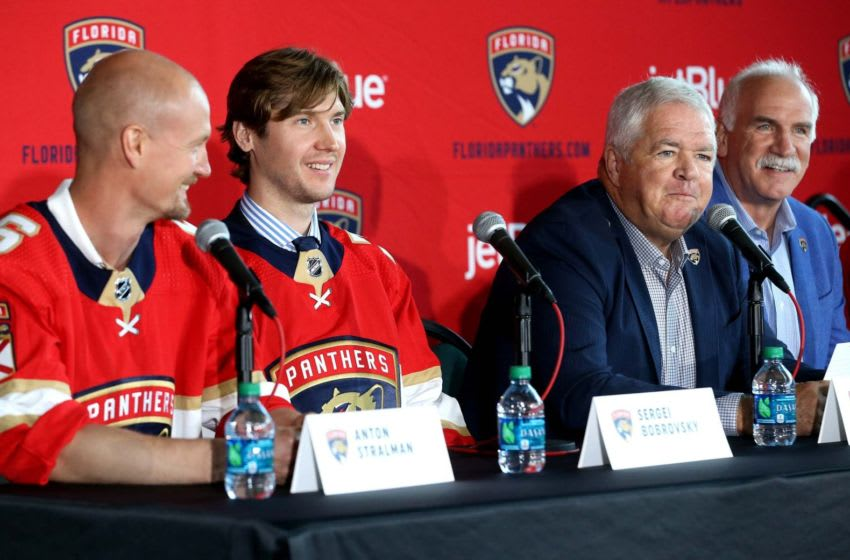 Newly signed Florida Panthers Anton Stralman and goalie Sergei Bobrovsky attend a press conference with Panthers president Dale Tallon and coach Joel Quenneville at the BB&T Center Tuesday, July, 2, 2019 in Sunrise, Fla. (Charles Trainor/Miami Herald/TNS via Getty Images)
