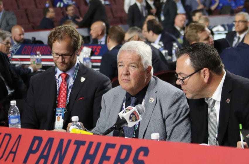 VANCOUVER, BRITISH COLUMBIA - JUNE 22: Dale Tallon of the Florida Panthers handles the 2019 NHL Draft at Rogers Arena on June 22, 2019 in Vancouver, Canada. (Photo by Bruce Bennett/Getty Images)