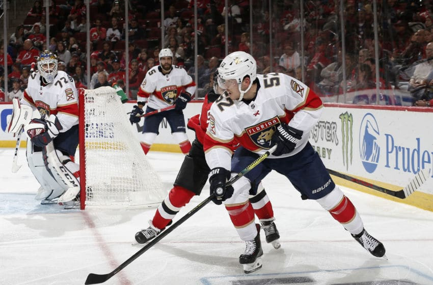 NEWARK, NJ - OCTOBER 14: MacKenzie Weegar #52 of the Florida Panthers skates with the puck during the third period against the New Jersey Devils on October 14, 2019 at the Prudential Center in Newark, New Jersey. The Panthers defeated the Devils 6-4. (Photo by Andy Marlin/NHLI via Getty Images)