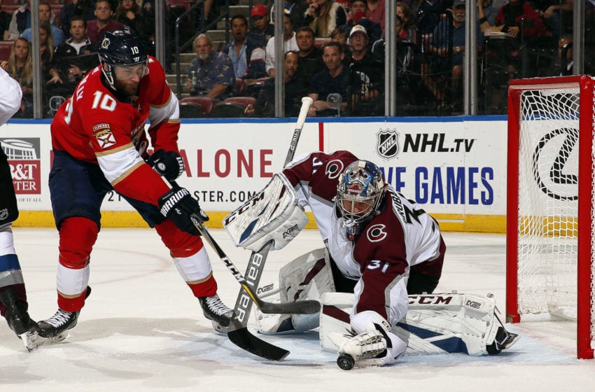 SUNRISE, FL - OCT. 18: Goaltender Philipp Graubauer #31 of the Colorado Avalanche makes a save against Brett Connolly #10 of the Florida Panthers at the BB&T Center on October 18, 2019 in Sunrise, Florida. (Photo by Eliot J. Schechter/NHLI via Getty Images)